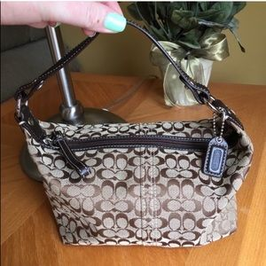 Coach Signature Print Top Handle Pouch
